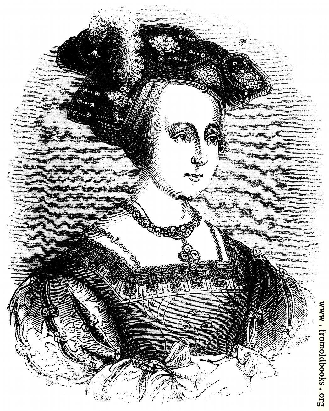 [Picture: 1422.—Queen Anne Boleyn.  (From a Painting by Holbein.)]