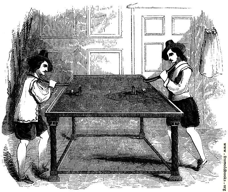 """[Picture: 2153.—Billiards (From """"School of Recreation,"""" 1710)]"""