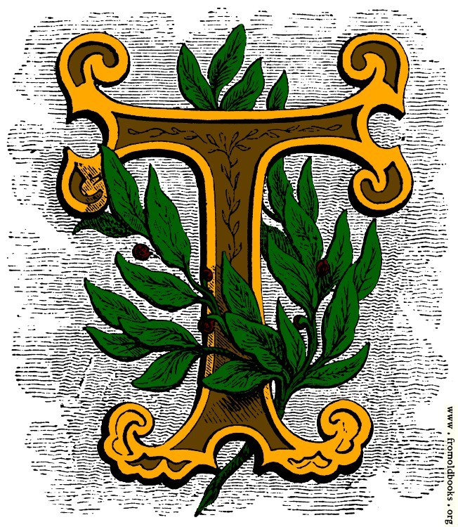 [Picture: Floriated initial letter T, coloured version]