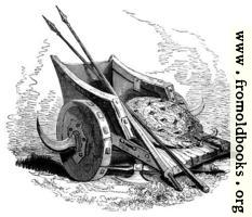 [picture: 75.---British War Chariot, Shield and Spears.]