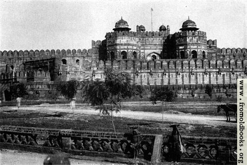 [Picture: Agra Palace and part of wall and gateway to the fort.]