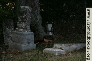 [Picture: Old family bible in country churchyard]