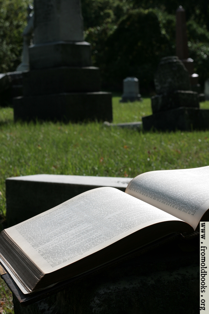 [Picture: Open book with tombs]