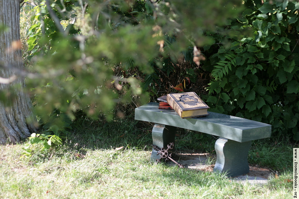 [Picture: Stone bench under a tree with Bible, books and cross]