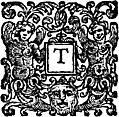 [Picture: Initial Letter T With Angels and Devil]