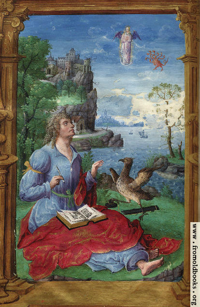 [Picture: Painted miniature: a writer, with a castle in the background]