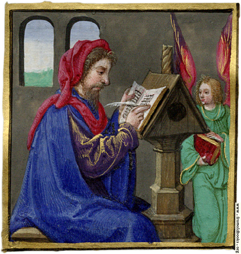 miniature painting of a scribe writing at a desk