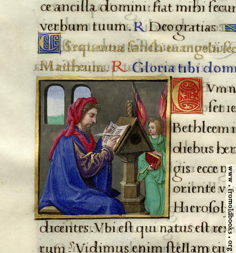 [Picture: Page detail from Mediaeval Book of Hours]