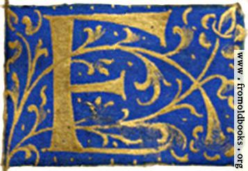 """[Picture: Letter """"F"""" from 16th century book of hours]"""
