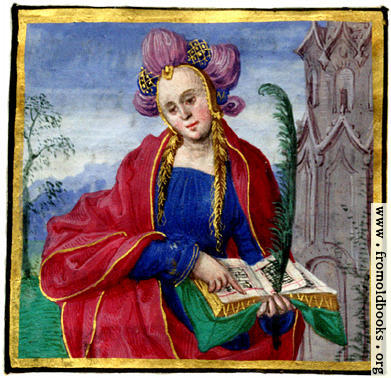 [Picture: Miniature painting of a woman reading a music book]