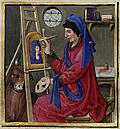 Miniature painting of a portrait artist with easel