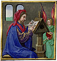 [picture: Miniature painting of a scribe writing at a desk]