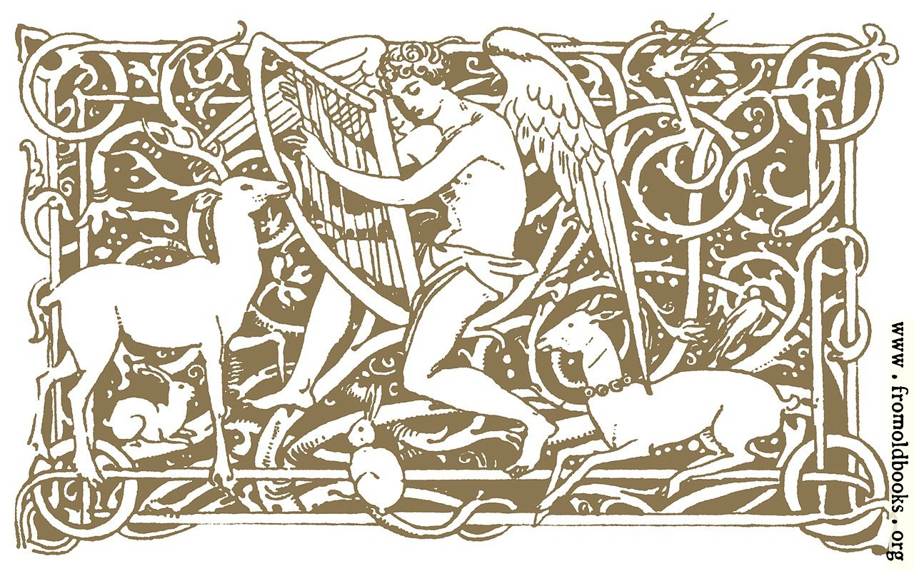[Picture: Angel playing the harp, attended by deer]