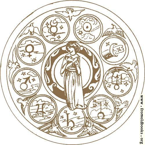 [Picture: Zodiac wheel with woman (detail)]