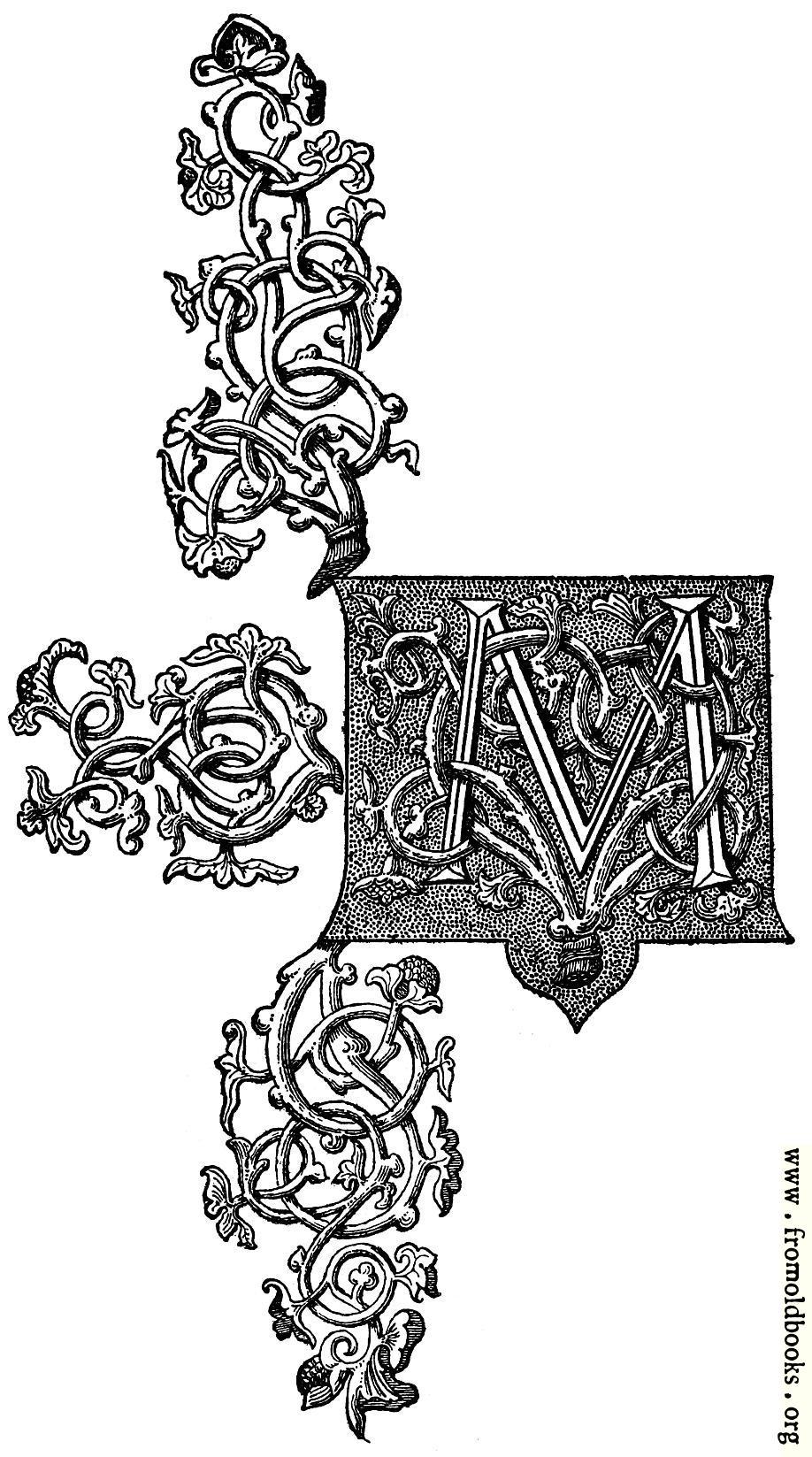 [Picture: Ornate rococo baroque capital letter M]