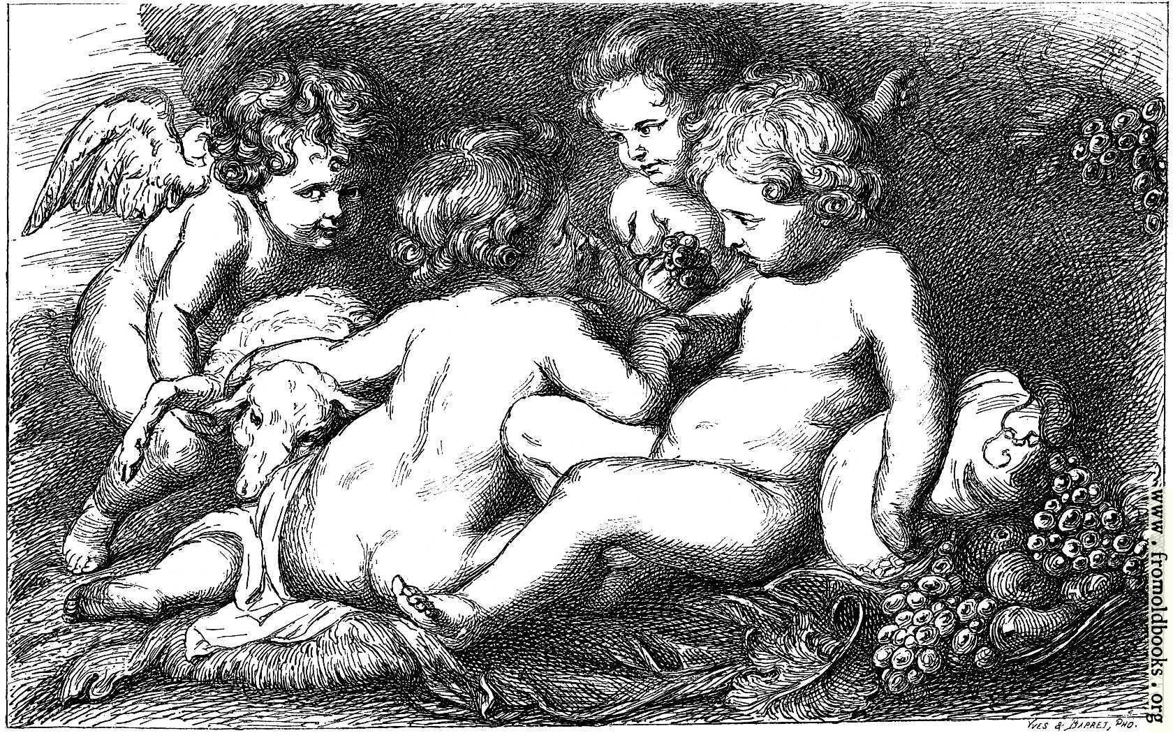 [Picture: Enfants et amour jouant avec un mouton]