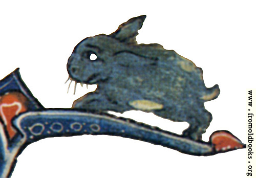 [Picture: Drollery (margin-creature), Blue Rabbit]