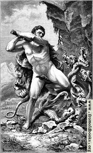 [Picture: Herkules in Kampfe gegen die lernäische Schlange.]