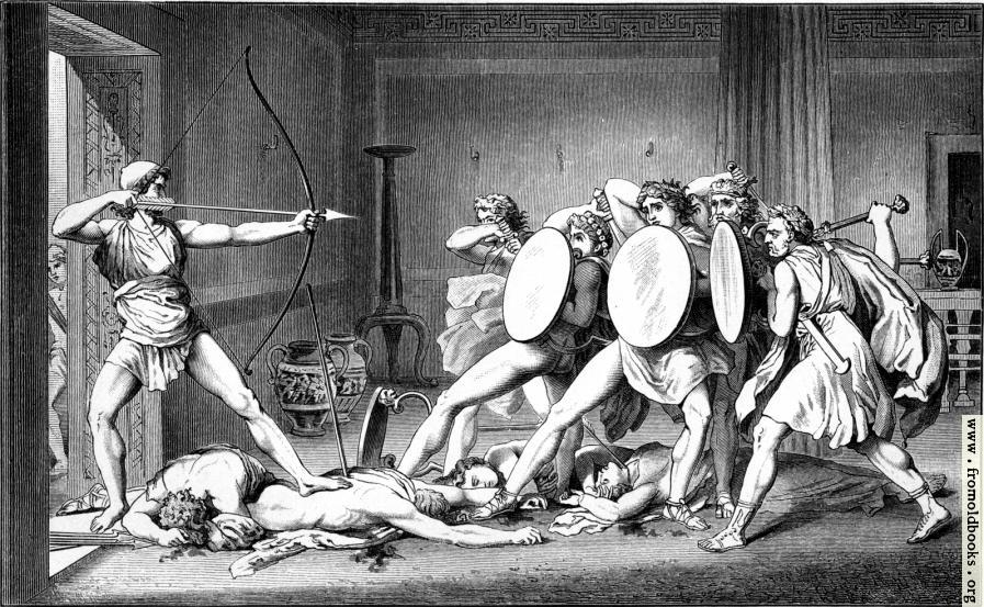 [Picture: Odysseus toetet die Freier]