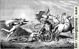 [picture: Apollo beschuekt die Leiche Hektors]