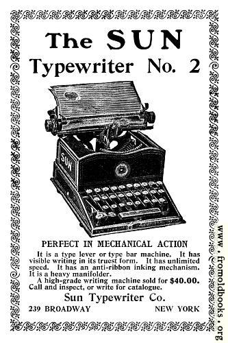 [Picture: Old Advert: The Sun Typewriter]