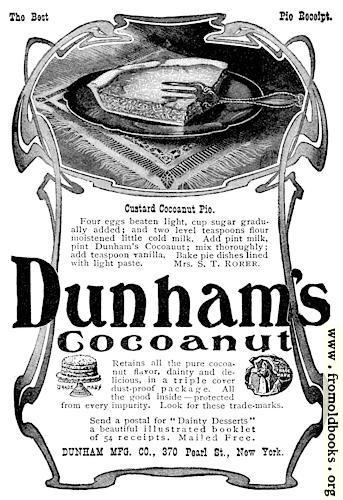 [Picture: Dunham's Coconut Ad]