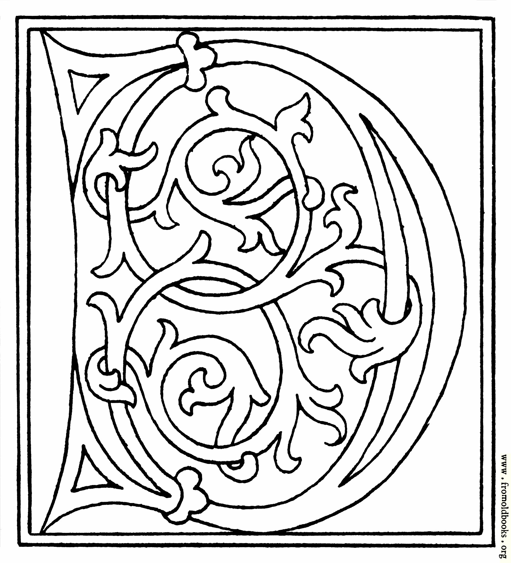 clipart initial letter D from