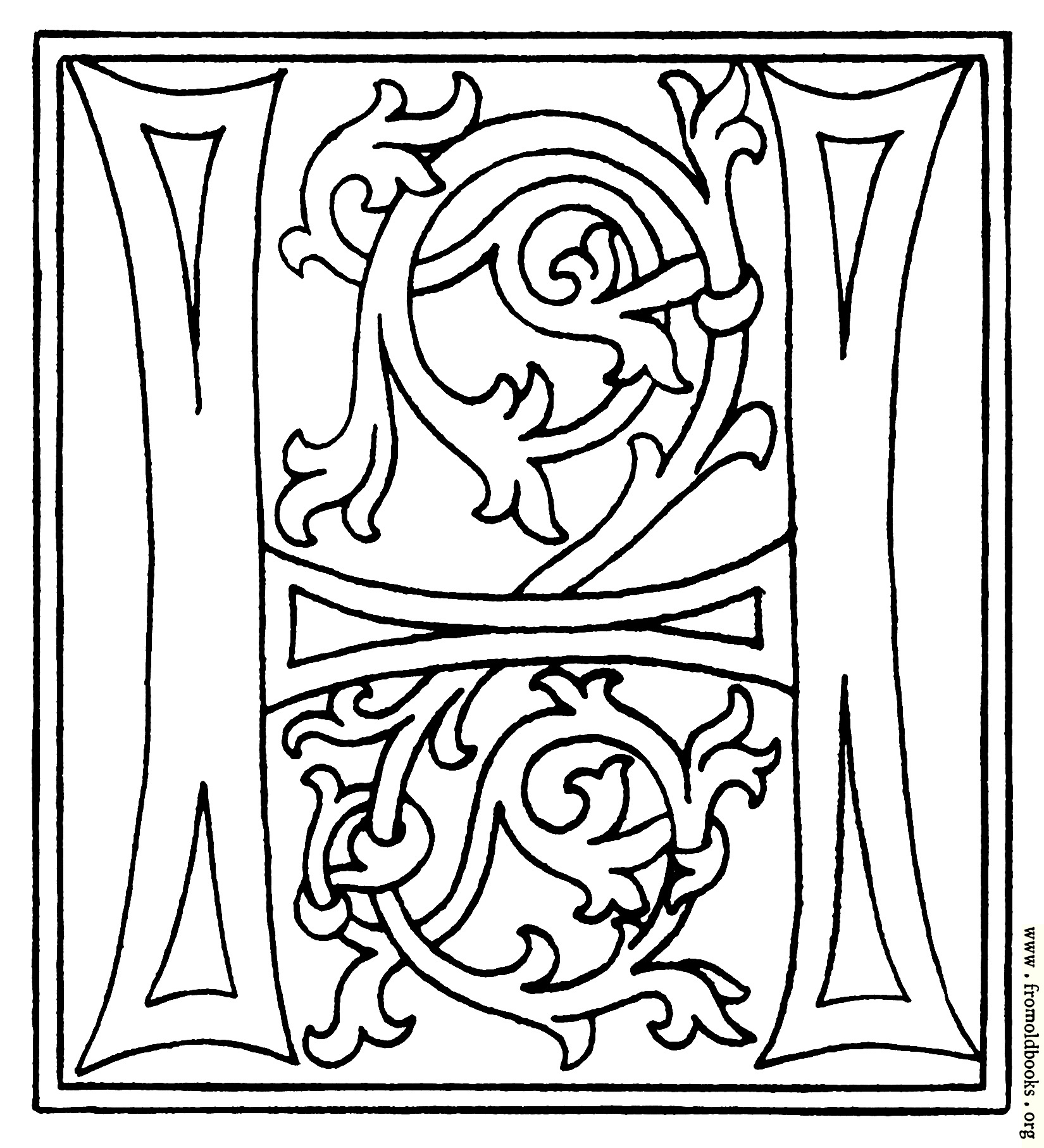 illuminated alphabet templates - clipart initial letter h from late 15th century printed book