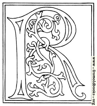 [Picture: clipart: initial letter R from late 15th century printed book]