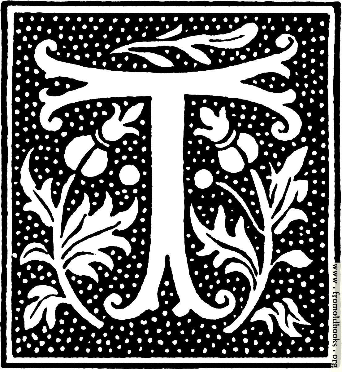 [Picture: clipart: initial letter T from beginning of the 16th Century]