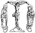[picture: Initial Letter M With Crucifixion Scene]