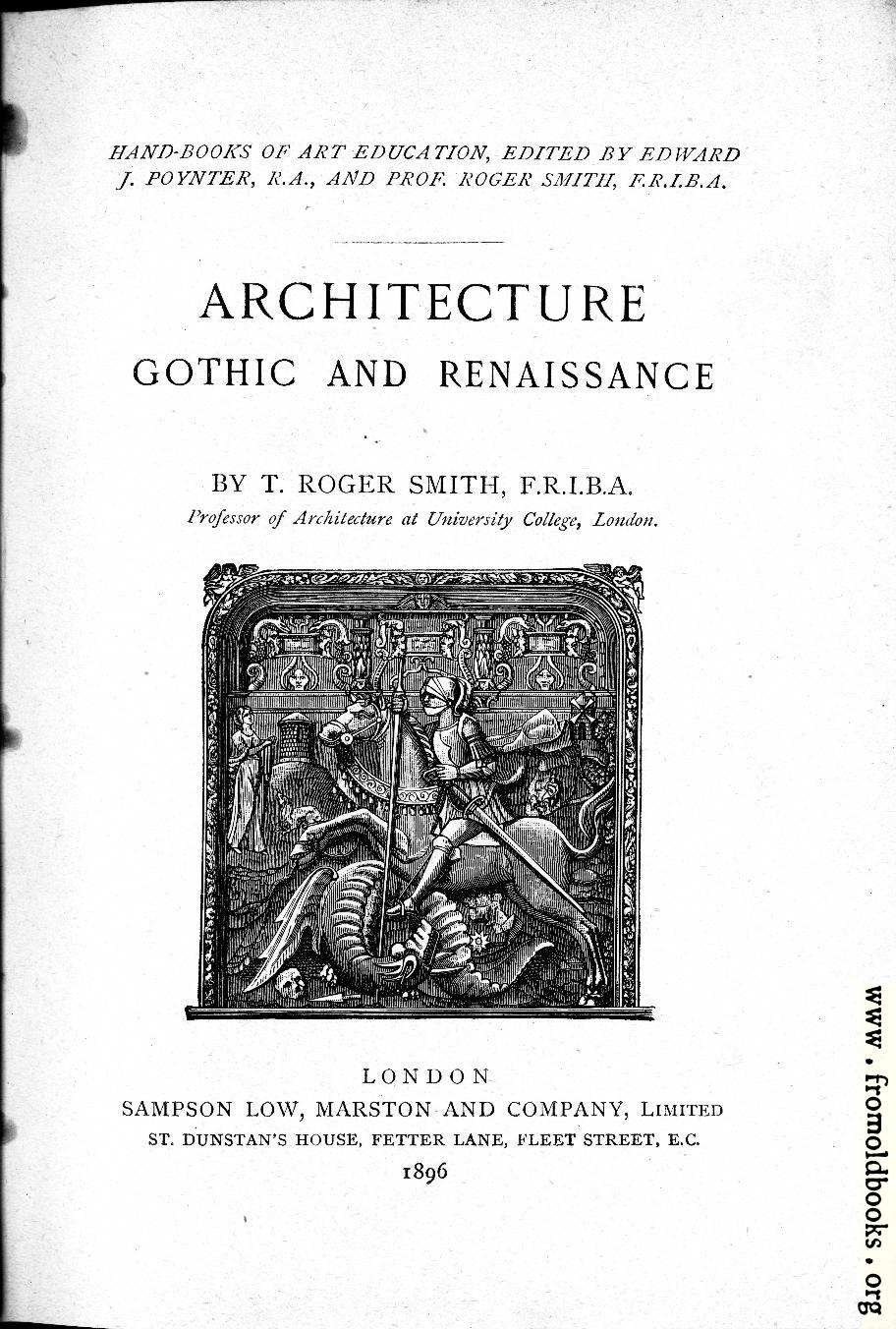 Title Page Architecture Gothic And Renaissance