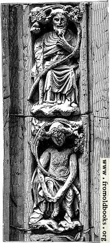 [Picture: 30.—Sculpture from the entrance to the chapter house, Westminster Abbey (1250)]