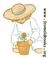 [picture: Girl with flower in flowerpot]