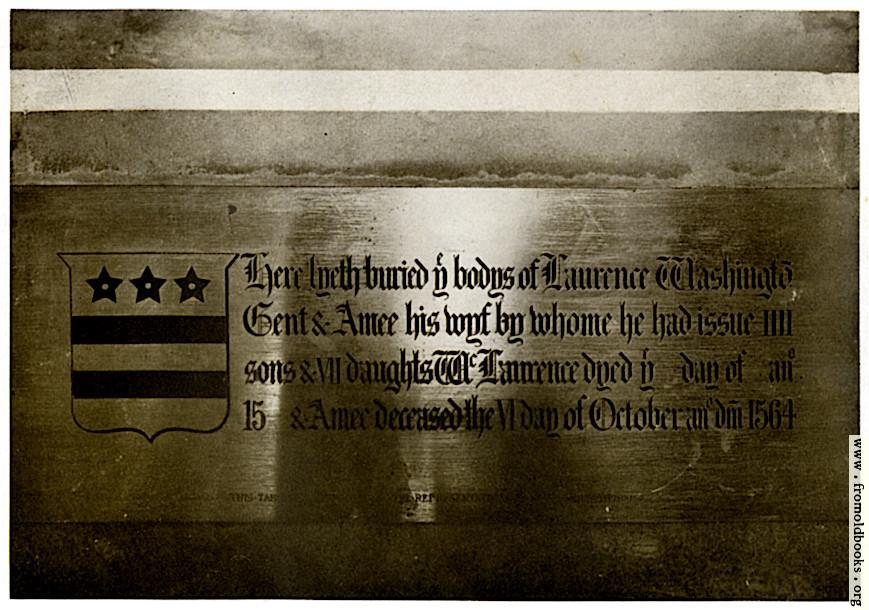 [Picture: Washington Brass, Sulgrave Church]