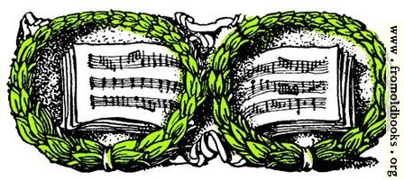 [Picture: Music book and wreaths]