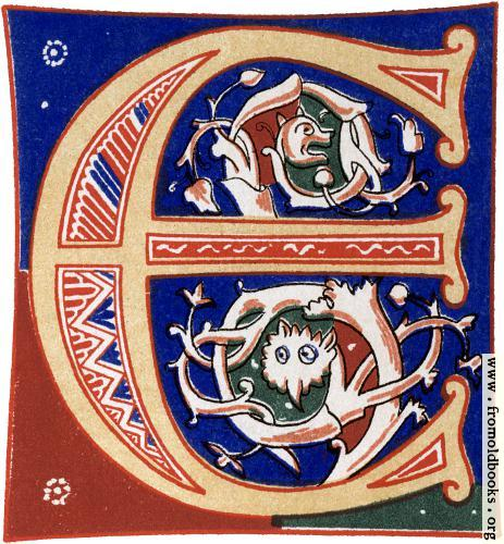"[Picture: Decorative initial letter ""E"" from 11th century.]"