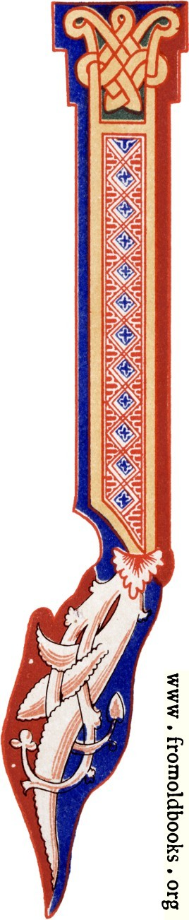 """[Picture: Decorative initial letter """"J"""" from 11th century.]"""