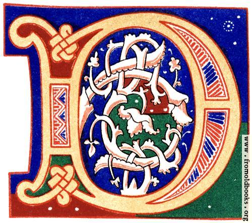 "[Picture: Decorative initial letter ""D"" from 11th century.]"