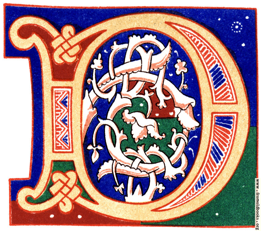 """[Picture: Decorative initial letter """"D"""" from 11th century.]"""