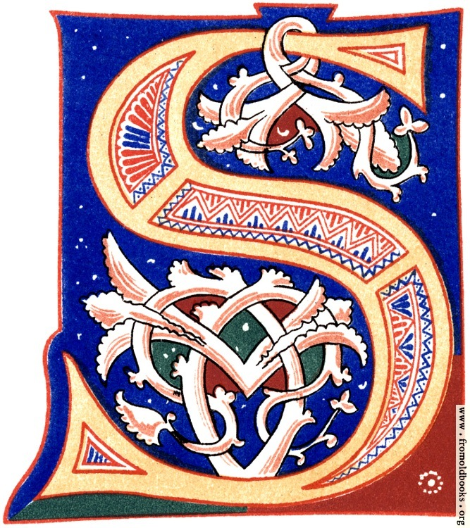 """[Picture: Decorative initial letter """"S"""" from 11th century.]"""