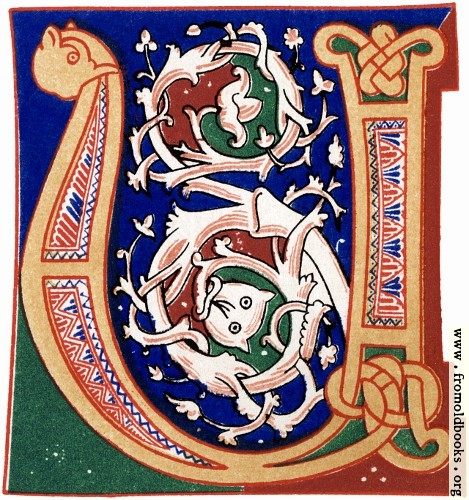 "[Picture: Decorative initial letter ""U"" or ""V"" from 11th century.]"