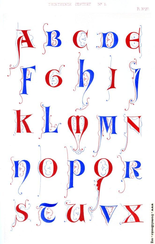 [Picture: Plate 37.—Thirteenth Century No. 1: Alphabet overview]