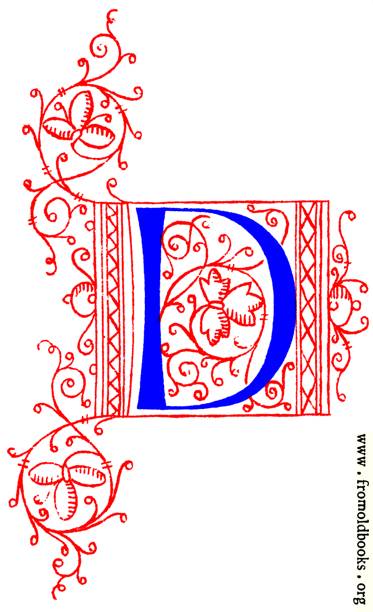 Decorative initial letter D from fifteenth Century Nos. 4 and 5.