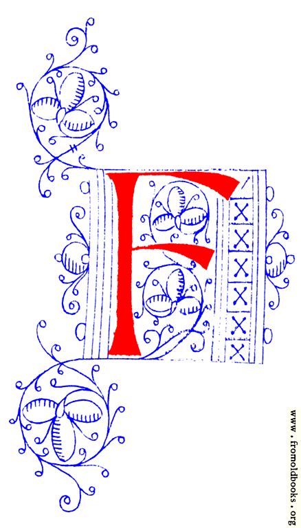 Decorative Initial Letter F From Fifteenth Century Nos  4