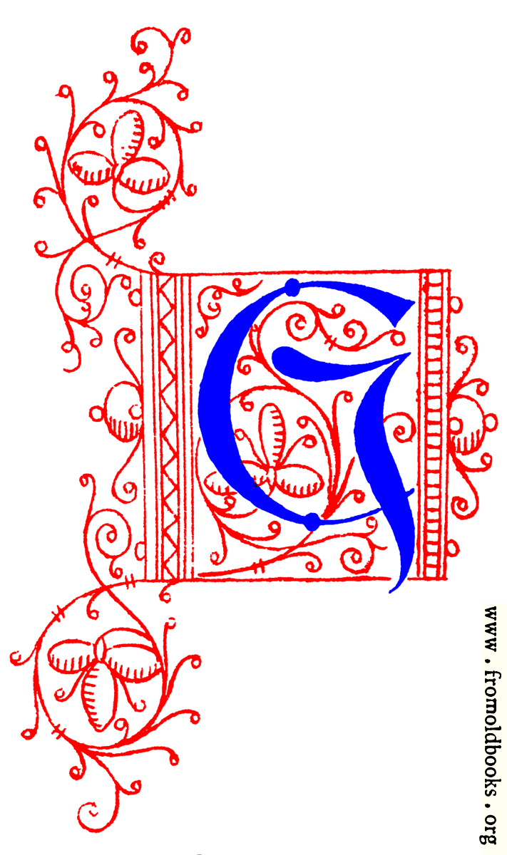 decorative uncial initial letter g from fifteenth century