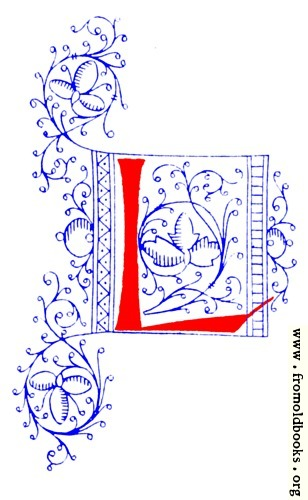 [Picture: Decorative initial letter L from fifteenth Century Nos. 4 and 5.]
