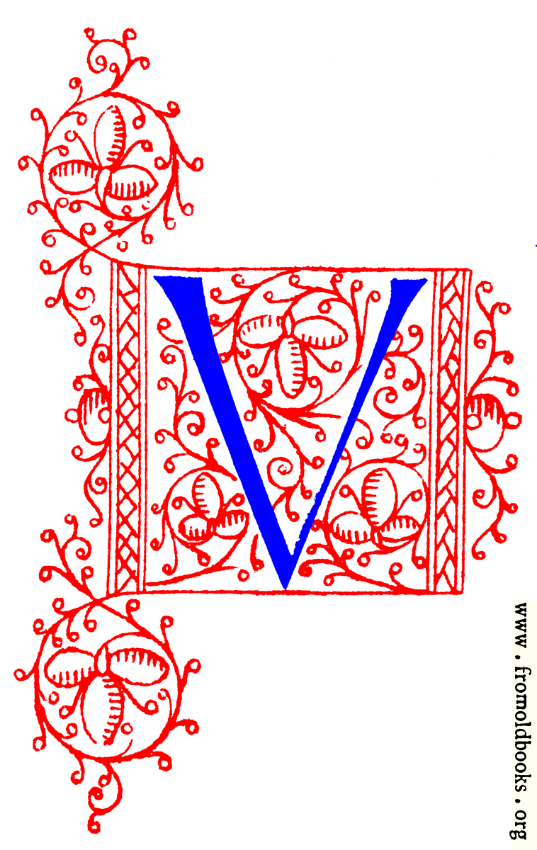 Decorative initial letter V from fifteenth Century Nos. 4 and 5.