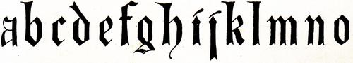 [Picture: Top row of miniscule (lower-case) blackletter from XIV. Century  No. 1.]
