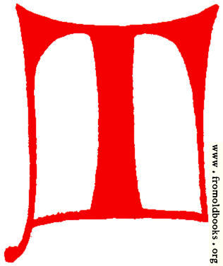 [Picture: Clip-art: calligraphic decorative initial capital letter T from XIV. Century  No. 1]